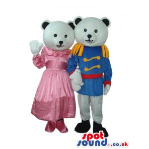 White Teddy Bear Couple Plush Mascot Wearing Prince Garments -