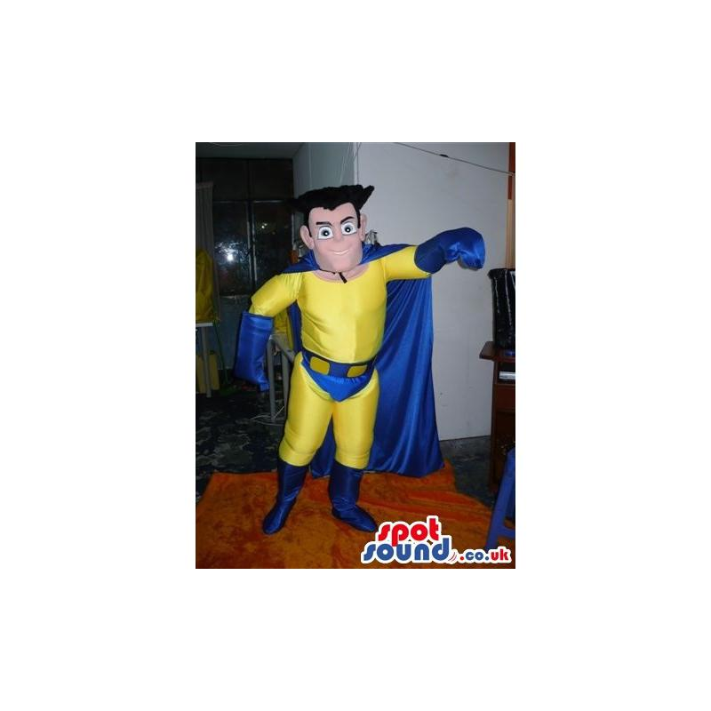 Super hero mascot with his super hero costume going to fly -