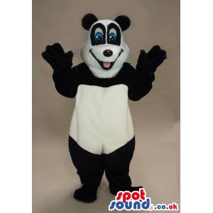 Smiling Panda Bear Animal Plush Mascot With Funny Blue Eyes -