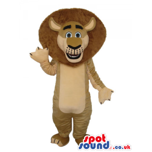 Cute Light Brown Lion Plush Mascot With Round Brown Hair -