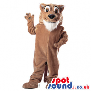 All Brown Plain Tiger Animal Plush Mascot With White Beard -