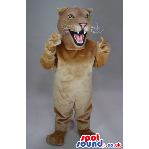 Beige Wildcat Animal Plush Mascot With A Furious Face - Custom