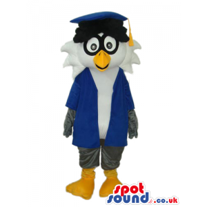 Grey And White Owl Plush Mascot Wearing Teacher Garments -