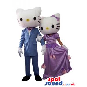 Kitty Cat Couple Plush Mascot Wearing Elegant Garments - Custom