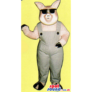 Pink Pig Farm Animal Plush Mascot Wearing Sunglasses And