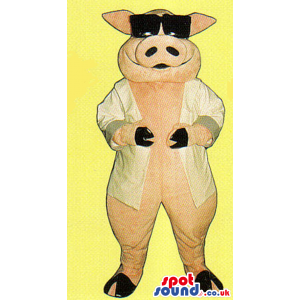 Pink Pig Farm Animal Plush Mascot Wearing Sunglasses And Jacket