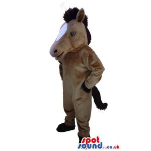 Brown horse mascot looking so serious with his pose - Custom