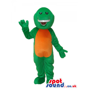 Cute Green Dinosaur Plush Mascot With A Brown Belly - Custom