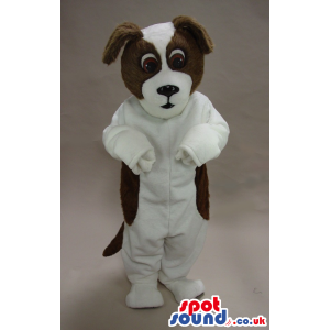 Cute Brown And Black Dog Pet Plush Mascot With Brown Eyes -