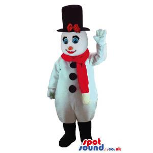 Snow woman mascot with red nose and a red muffler in black hat