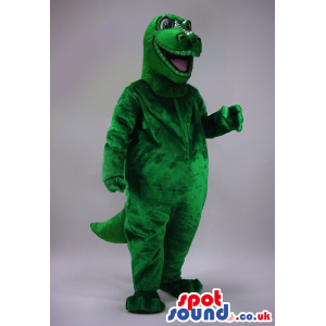 Customizable All Green Dinosaur Plush Mascot With Open Mouth -
