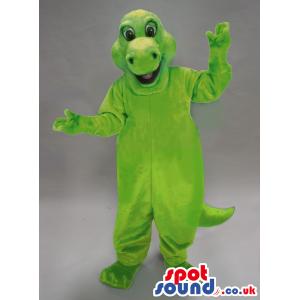 Customizable Light Green Dinosaur Plush Mascot With Open Mouth
