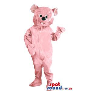 Pink bear mascot with bunny teeth saying hi to you - Custom
