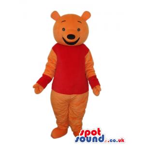 Winnie It Pooh Cartoon Bear Mascot With Red T-Shirt And Cuffs -