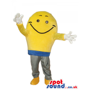 Yellow Bulb Plush Mascot With A Smiling Face And White Gloves -