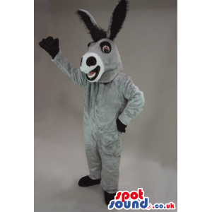 Customizable All Grey Donkey Mascot With Long Black Ears -