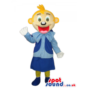 Happy Blond Girl Character Mascot Wearing Blue Garments -