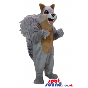 Cartoon Grey Squirrel Animal Plush Mascot With A Brown Belly -