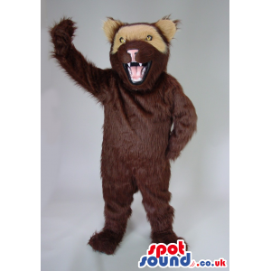 Dark Brown Wildcat Animal Plush Mascot With Half Beige Face -