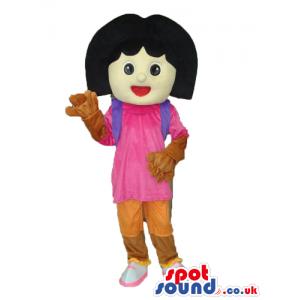 Dora The Explorer Popular Cartoon Character Mascot With Gloves