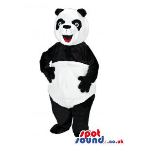 Panda mascot with his usual colours black and white - Custom