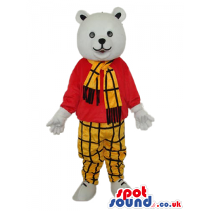 White Bear Plush Mascot Wearing A Checked Scarf And Pants -