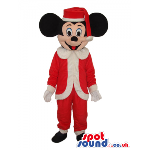 Mickey Mouse Disney Character With Santa Claus Garments -