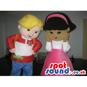 Boy And Girl Couple Plush Mascots With Diverse Garments -