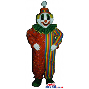 Very Colorful Clown Mascot With Dots, Stripes And A Pompom -