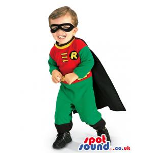 Cute Green And Red Robin Superhero Children Size Costume -