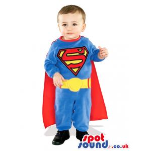Cute Blue And Red Superman Super Hero Children Size Costume -