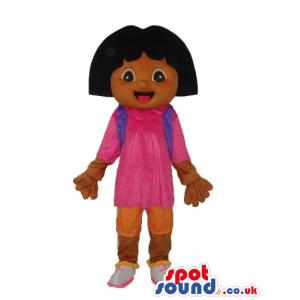 Dark Dora The Explorer Cartoon Character Mascot With Gloves -