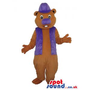 Brown Chipmunk Plush Mascot With Purple Garments - Custom
