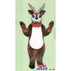 Brown Reindeer Animal Plush Mascot With Studded Collar - Custom