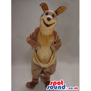 All Brown And Beige Kangaroo Plush Mascot With A Pocket -