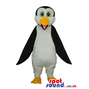 Cute Young Penguin Animal Plush Mascot With Green Eyes - Custom