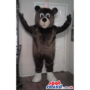 Customizable Cute Dark Brown Bear Plush Mascot With Small Hat -