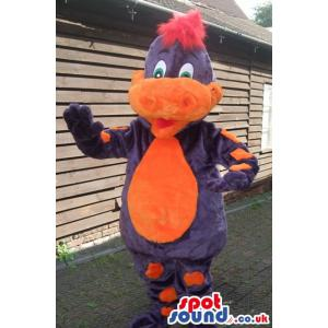 Cute happy colourful dinosaur mascot saying hi to all of you -