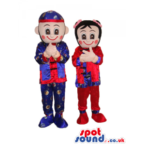 Oriental Boy And Girl Couple Mascot With Shinny Garments -