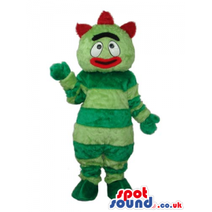 Funny Green Stripes Bug Plush Mascot With Red Lips - Custom