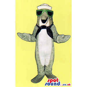 Cute Grey Dolphin Plush Mascot Wearing Green Sunglasses -