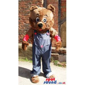 Brown bear mascot with a blue jumper and a check shirt - Custom