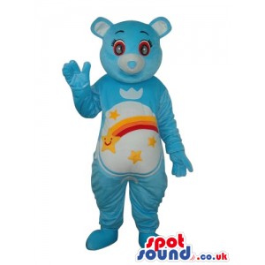 Blue Care Bear Cartoon Mascot With A Colorful Rainbow On Belly