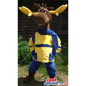 A naughty cute reindeer with yellow and blue costume - Custom