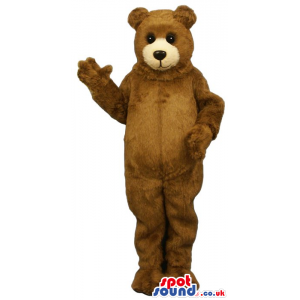 Classic Cute Big Brown Teddy Bear Plush Mascot With Beige Face