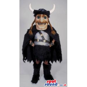 Viking Character Mascot Wearing Black And Brown Garments -