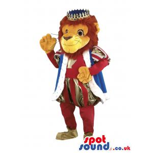 King lion mascot with his royal clothes and crown - Custom