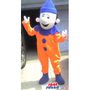 Orange And Blue Clown Pierrot Mascot With Happy Face - Custom