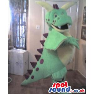 Customizable Green Dinosaur Plush Mascot With Big Horns -
