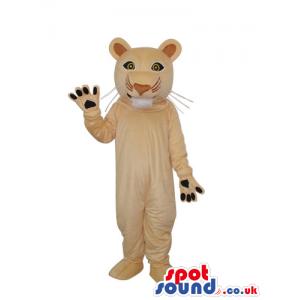 Cute Beige Wildcat Animal Plush Mascot With Round Ears - Custom